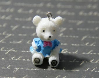 Adorable blue and pink Teddy bear charm in resin