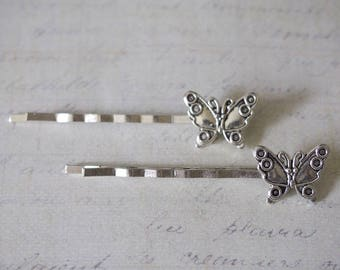 Customize silver-plated 59x13mm Butterfly Barrette clip
