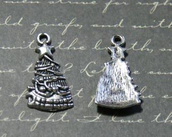 2 silver Christmas tree charms