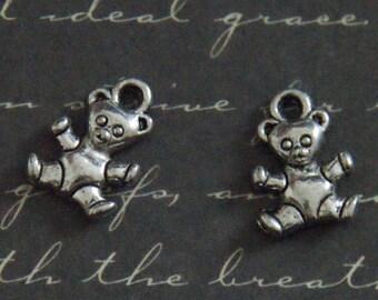 3 charms 10x13mm silver bear.