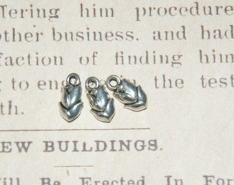 3 charms silver metal Tulip solid 10x8x5mm