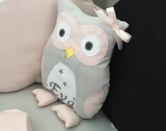 Plush or plush OWL or OWL personalized gray and pink unique and original handmade gift