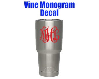 Vine Monogram Decal - DIY Vinyl Decal for Cups - Custom Monogram Decal for 20oz or 30oz Cup - Cup Decal - Bottle Decal - Vine Monogram Decal