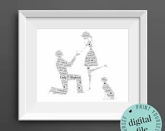 Personalised ENGAGEMENT GIFT with Dog - Word Art - Printable Art - Art Print - Unique Engagement gift - Engagement Card - Gift for Couple