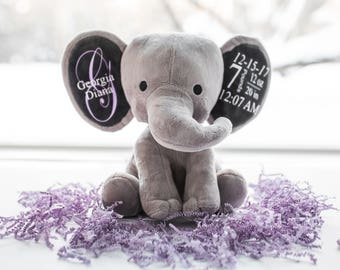 Baby toddler toys etsy nz personalized baby gift birth stat elephant birth stat gift stuffed elephant baby negle Gallery