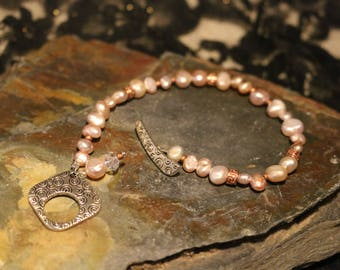Pink Pearl Bracelet, Sterling Silver and Copper Accents, Wedding Gift, Birthday Gift, Anniversary Gift