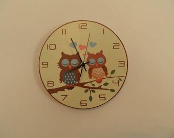 Amorous owlets sit on the tree Silence Nurcery clock Modren wall clock retro wall clock Unique wall clock retro wall clock