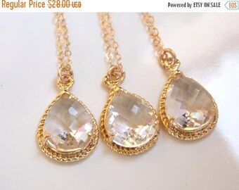 SALE Bridesmaid Jewelry, Crystal Necklace, Crystal, Clear, Gold filled, Wedding Jewelry, Bridesmaid Gifts, Bridesmaid Necklace, Gifts, Penda