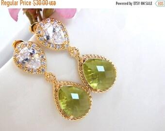 SALE Wedding Jewelry, Cubic Zirconia and Apple Green Earrings, Bridal Jewelry, Peridot,Gold Earrings,Bridesmaids Jewelry, Post, Dangle,Gifts