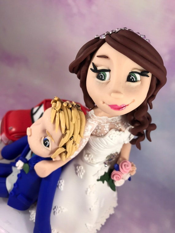 Fully personalised clay Wedding Cake Topper highly detailed and fully sculpted - Keepsake bride dragging groom away from car
