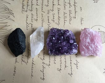 Crystal Collection - Raw Amethyst Geode -  - Raw Rose Quartz -Raw Black Tourmaline - Raw Crystal Quartz - Premium Crystals