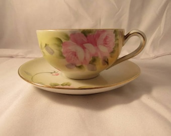 Vintage Nippon Teacup And Saucer, Collectible Nippon, Floral Teacup, Vintage Teacup, Nippon China, Nippon Cup And Saucer