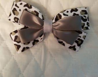 Black and gray cheetah hair bow