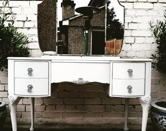 Upcycled Vanity Make-up Kidney Shaped Dressing Table Mid Century Modern White and Silver