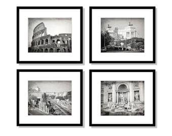 SALE, Rome Art, Italy Photography, Set of 4 Prints, Travel Decor, Black and White, Colosseum, Trevi Fountain. Rome Wall Art Print Set
