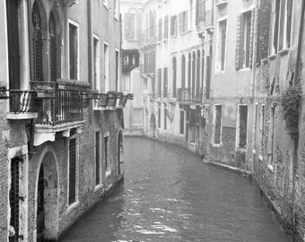 Venice Wall Art, Venice Print, Black and White Photography, Italy, Canal, Windows, Doors, Balconies, Travel Decor, Europe, Venice Print