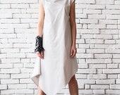 SALE Off White Asymmetric Loose Summer Dress/Sleeveless Maxi Dress/Summer Casual Dress/Oversize Tunic Dress/Long Maxi Top/Plus Size Tunic To
