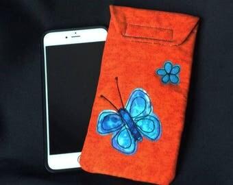 iPhone 6/7 Plus case, Smart phone case, padded batik fabric pouch, Gadget case. Large phone pouch, iPhone bag, eyeglass, iPhone 7 case 6P#35