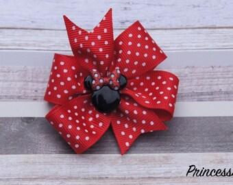 Minnie mouse hair bow,Cute hair bow,Every day hair bow,disney hair bow