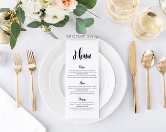 Wedding Menu, Minimalistic Design, printable, digital file