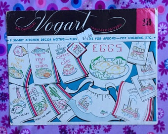 1950s Vogart Embroidery Pattern | Kitchen Decor Motifs | Vintage Embroidery Transfer