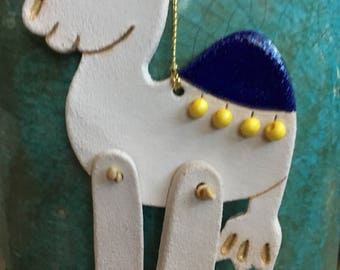 Camel Ornament Christmas camel stoneware ornament handcrafted ornament rustic desert ornament