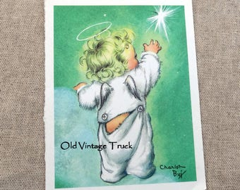 Vintage Baby Angel Reaching For a Star Charlot Byj Christmas Card Front Only