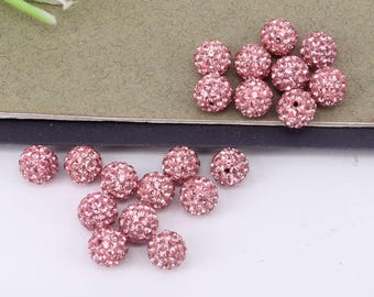 50pcs 8mm Round shape Pink color Crystal Rhinestone Spacer Loose Beads For Jewelry Making