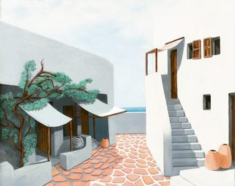 Life in Mykonos, Greece an Island with the little shops and tiny streets and a small seaside town with doors windows awnings oil painting