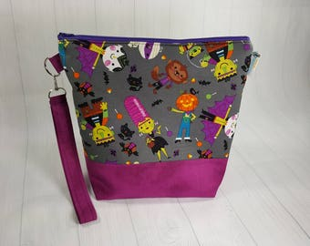 Halloween Friendly Monsters, Medium Knitting Project Bag, Medium Zippered Wedge Bag, Zipper Bag, Shawl Project Bag WM0032