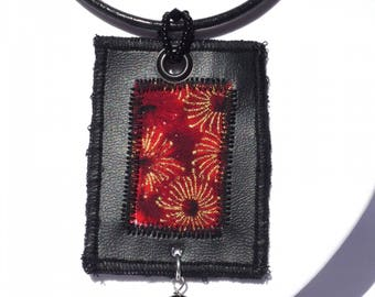 Black fabric textile pendant Japanese imitation leather