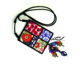 Bohemian necklace embroidered fabric liberty