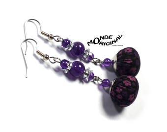 Purple fabric liberty Penny earrings Amethyst
