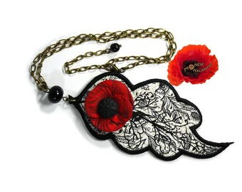 Poppy in Japanese fabric, spun glass polymer clay leaf necklace