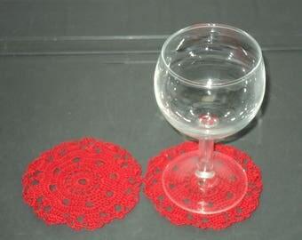 SET of 6 DOILIES coasters handmade crochet red cotton