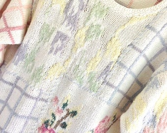 Stunning New Size M-L Hand Knit Jennifer Reed Pink Blue Yellow Green Pastel Floral Pullover Summer Sweater