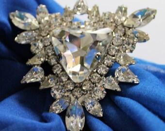 Stunning Clear Rhinestone Disco Ring Vintage 1970'S Statement Jewelry Rhinestone Ring Diva Jewelry Boho Jewelry