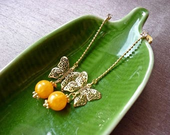 """Yellow jade-2"" BO * you want to have your jewelry that you like?   Contact Jolihanstyle for more informations."