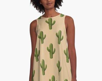SAGUARO A-Line Swing Dress Trapeze Dress XS S M L XL 2XL Cactus Southwestern Plant Desert Brown Green Woman Teen Wearable Art Clothing
