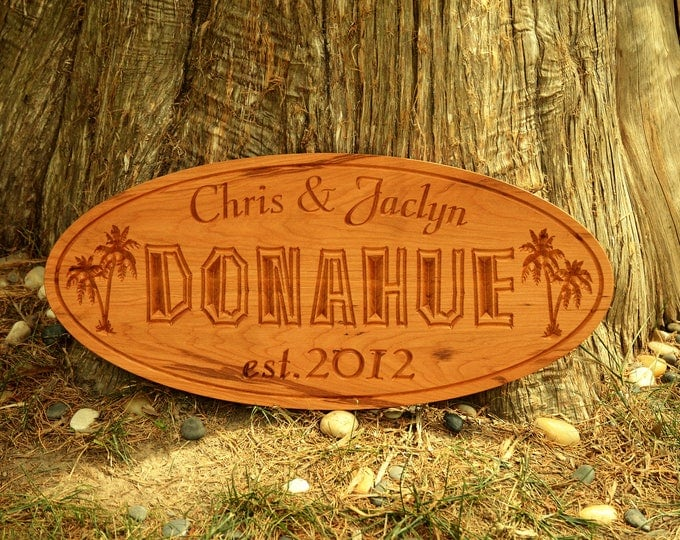 Personalized Wedding Gift Wedding Present Family Name Sign Wood Established Family Name Sign Couple Anniversary Gift Name Custom Carved Wood