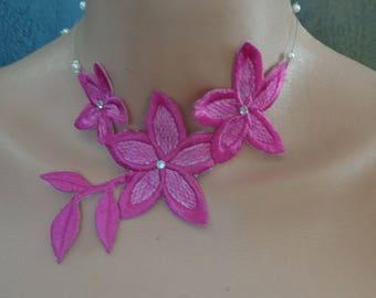 Choker necklace lace Fuchsia rhinestone piece unique! wedding
