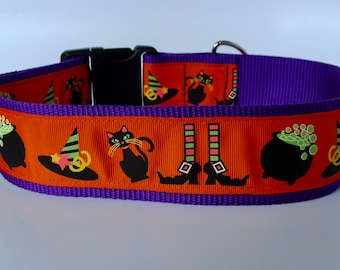 "READY TO SHIP! XLarge Dog Halloween Collar 2"" Wide - Witches Brew"