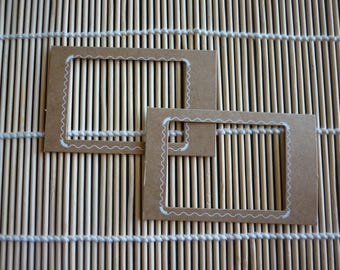 Frame designs Brown cardboard white special scrapbooking, sold in packs of 2.