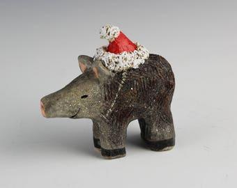 Santa Javelina Adult, Handmade, Hand Painted Ceramics by Southwest Artist, Karlene Voepel