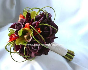RESERVED, Eggplant/plum/purple, green, orange, bouquet, Real Touch flowers, rose/roses, orchids, calla lilies, Bride, silk, wedding, set