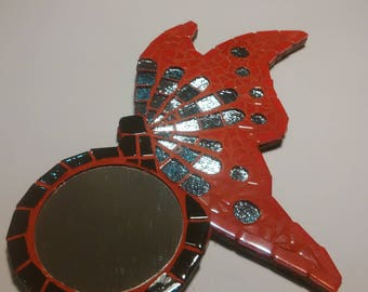 Mirror mosaic red and silver Butterfly