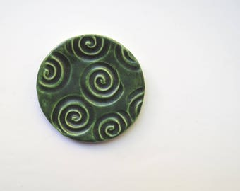 Ceramic ~Bathroom Accessory ~Green ~Soap Dish ~Pottery Soap Dish ~Small Dish ~Ring Dish ~spoon rest ~Green Home Decor ~Bathroom ~Dark green