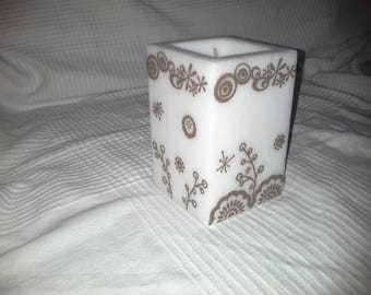 White Square candle with pattern