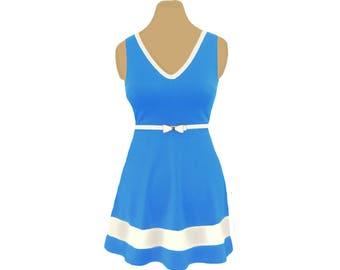 Light Blue + White Skater Dress