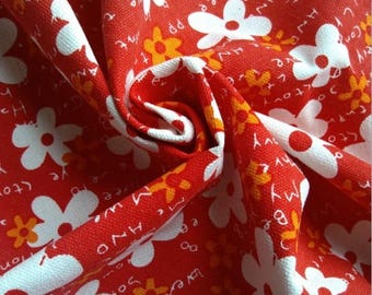 5 m X upholstery fabric cotton linen red flowers white.